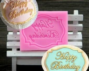 Framed Happy Birthday Silicone Cake Fondant Mould Decorating Chocolate Baking Mold