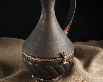 Hand made jug of clay, vessel, jugs for wine. water, juice, milk, pitchers, pitcher, jar, ewer, jugful