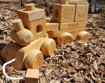 SALE! Vintage handmade wooden train for baby and toddlers, construction blocks, push and pull train, wood train, wood blocks, train blocks