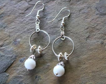 White and silver wire earrings