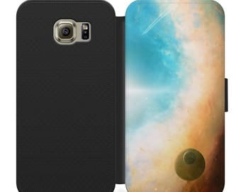 Planet and moon deep space flip wallet phone case for iphone 4 5 6 7 8 8 plus, Samsung s2 s3 s4 s5 s6 s7 S8 S8 plus and more