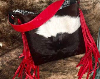 Cowhide purse with fringe