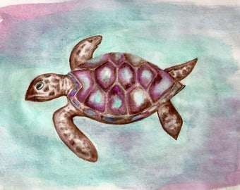 Seaturtle Watercolor Matted Print
