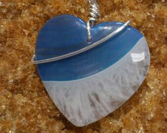 Blue White Druzy Geode Agate Heart Pendant