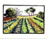 original art/landscape art/farm crops art/ field art/agricultural art/farm art/wall art//scenic art/miniature paintings