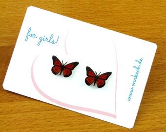 Girl children jewelry ear studs earrings 925 Silver monarch butterfly