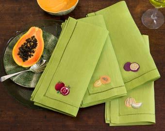 Tropical lime linen embroidered napkins - set of 4