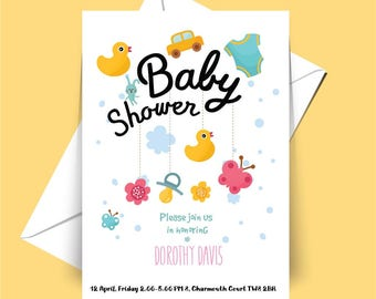 Cute, Baby shower party, invitation, white envelope included.