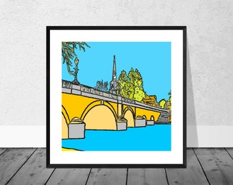 Wallingford Art Print, Wallingford Bridge, Oxfordshire Art Print, England Art Print, Church and Bridge, River Thames Art, Thames Art Poster