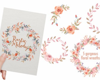 Watercolor wreath - roses wreaths - blush floral wreaths