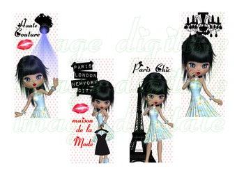 Bookmark printable miss fashion Paris New York