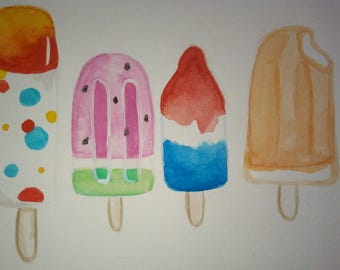 Summer Popsicle 4X6 watercolor painting