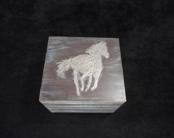 """Jewelry box theme """"Horse"""" two floor with finish ancient technique of wooden / Piece of unique """""""""""
