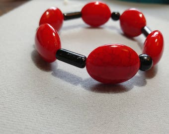 Red and Black large bead bracelet