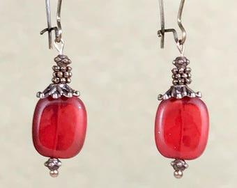 Antique Copper Earrings Red Earrings Bohemian Earrings Czech Glass Earrings Copper Dangle Earrings Ruby Earrings Boho Jewelry