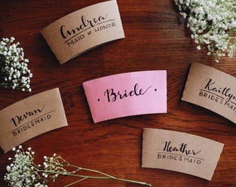 """Bridal Party """"Day Of"""" Coffee Sleeve Package"""