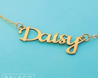 Name Necklace For Girls, 15 Font Style To Choose, Customize Your Name Necklace, Any Name, Personalized Name Necklace, Gold Plated 18k
