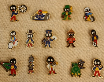 Collection of 14 Robertsons Enamel Golly Badges