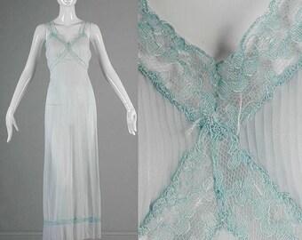 SALE Small 1950s Slip Pale Blue Full Slip Semi Sheer Mid Century Lingerie Nightgown Crystal Pleats Boudoir Pin Up 1950s Vintage 1950s Linger