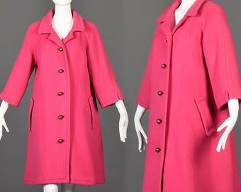 Medium 1950s Loose Winter Coat Hot Pink Wool Swing Coat Vintage 50s Bracelet Sleeve Coat Heavy Winter Coat