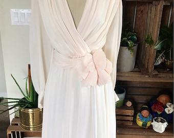1970's Vintage Blush Dress | Bridal | Tea Length | Anniversary | Party