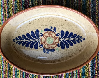Vintage Tonala Serving Bowl | Mexican Pottery | Floral | Handmade | Hand-painted