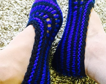 Black and Blue Crochet Women Slippers, Adult House Slippers, House Socks, Home Slippers, Adult Slippers, Blue Accessories, Women's Slippers