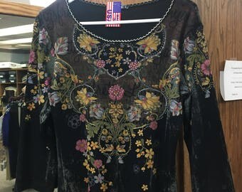 Women's Black 3/4 Sleeve with Swarovski Crystals on Flower Patterns