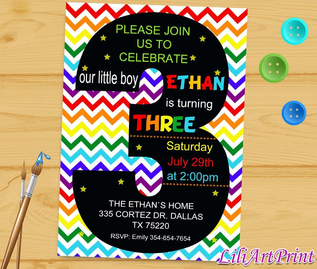 Rainbow 3rd birthday invitation third birthday boy or girl boy rainbow 3rd birthday invitation third birthday boy or girl boy birthday invitation baby stopboris Image collections
