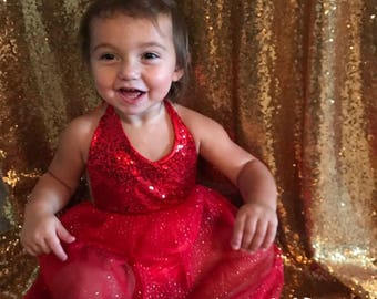 LA NICOLINA DRESS Holiday Dress Sequin Tulle Christmas Dress Photo Prop Holiday Photoshoot Sequin Baby Romper