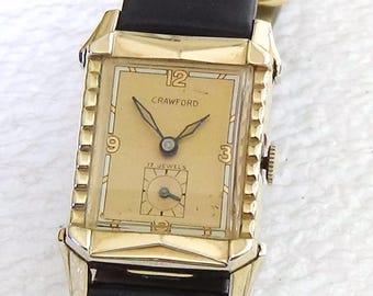 Vintage 1940s Men's Swiss Crawford Wrist Watch