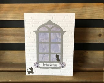 Prayer of Blessing Card for Your New Home, White Embossed Brick Background, Die Cut Window with Kitty Looking Out, Kitty Outside