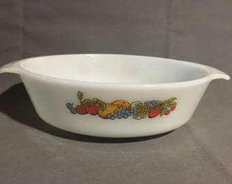 Vintage Anchor Hocking Fire King Nature's Bounty Garden Fruit Themed Oval Casserole Dish Oven #433
