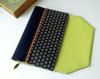 Protects-pocketbook adjustable fabric with bookmark (polka dot / noir_indigo_vert)