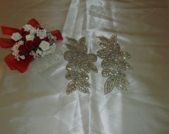 Large Silver/Rhinestone Flower Pieces