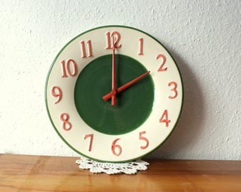 Vintage ceramic Wall Clock, Junghans, made in Germany