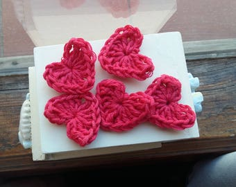 Set 5 hearts to crochet decorations