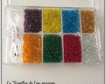 box assortment of multi color seed beads