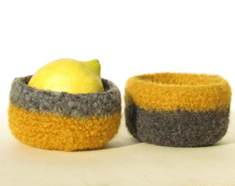 Stripe Felted bowl / eco-friendly Organic  / mustard yellow and grey  / Set of two