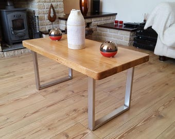 Solid Oak and Stainless Steel Coffee Table.  LONDON DESIGN.
