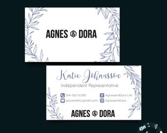 Custom Business Cards Agnes & Dora, Agnes and Dora Consultant Business Card, Green Floral Flower, Custom Business Card, PRINTABLE 052