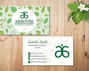 PERSONALIZED Arbonne Business Cards, Custom Arbonne Business, Green Arbonne Business Card, Custom Business Card, Printable Card AR02