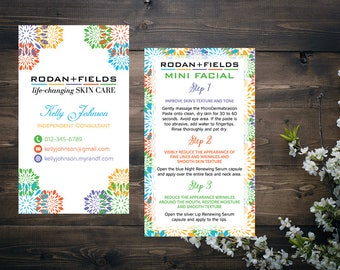 PERSONALIZED Rodan and Fields Business Cards, Rodan and Fields Mini Facial Card, Fast Personalized, Modern Business Cards RF15