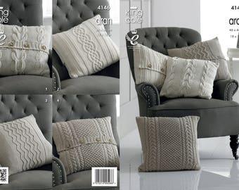Cushion Covers Knitting Pattern - King Cole Aran Knitting Pattern 4146