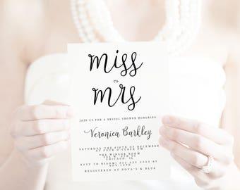 Bridal shower invitation, Elegant signature bridal shower invitation, handwritten font bridal shower invitation, elegant bridal shower