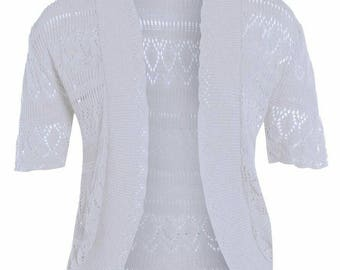 CUTE women's ivory cropped half  sleeve knit summer crochet shrugs size 14-16 cheap shrugs
