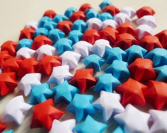 White Blue and Red Origami Lucky Stars - Wishing Stars,Party Favor,Home Decor,Birthday Gift,Embellishment