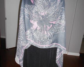 Vintage scarf  - wrap gray and pink  floral with zebra stripes size 21 X 66