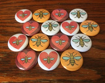 "Manchester Bee Heart UK United Kingdom 1"" Pin Badge Pinback Button"