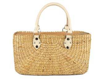 Straw Handbag Woman Summer Bag Natural Beige Colour Water Hyacinth with Faux Leather Handles